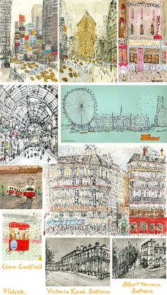 Clare Caulfield - thinking of a print for belated wedding present. City Illustration, Landscape Illustration, Watercolor Illustration, Watercolor Paintings, Illustration Styles, Watercolors, A Level Art Sketchbook, Building Art, Urban Sketching