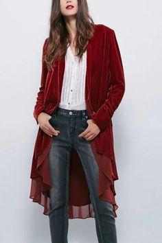 ba2590bc4877 Red Chiffon Ruffles Details Layered Trench Coats - US$33.95 -YOINS Long  Trench Coat,