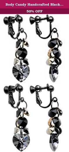 """Body Candy Handcrafted Black Anodized Heart Clip Earrings Created with Swarovski Crystals. There's no need to put your fashion on the back burner when your heart is feeling a little dark. This pair of clip-on earrings for non-pierced ears are created with Swarovski crystals for a truly glamorous dangling cascade of dark hued accents. The 38mm long earrings are hand assembled right here in the USA just for you. Specifications: 1 1/2"""" (38mm) Length, Black Anodized Clip-On Non-Pierced…"""