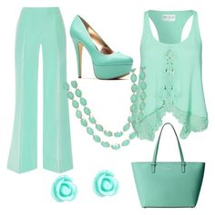 Seafoam by karamassey86 on Polyvore featuring polyvore, moda, style, Kiss The Sky, Oscar de la Renta, Kate Spade, Monsoon, fashion and clothing
