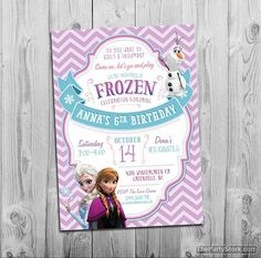Printable Frozen Invitation with Anna, Elsa and Olaf. Great Invite for your little girls Frozen themed Birthday Party! Invitation is 5 x 7 and