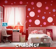 Pink Rose Polka Dots - Vinyl Art Wall Decal - Easy Update Girls Room -$44~different background color though