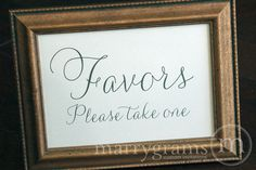 Wedding Favors Table Card Sign Wedding Reception by marrygrams, $4.00