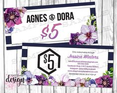 Honey and lace gift certificate gift card personalized gift agnes and dora dollars a d cash coupon agnes dora bucks gift certificate gift card promo voucher navy stripe purple floral best marketing kit colourmoves
