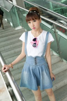 S~L New 2014 Fashion Spring/Summer Wmen Casual Denim Skirts Strap Suspenders Skirt Solid A-Line Mini Short Skirt Free Shipping $17.95