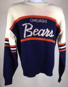 RARE Vintage Chicago Bears Sweater Sz Large Script New Mike Ditka 80s 1985 Hat | eBay