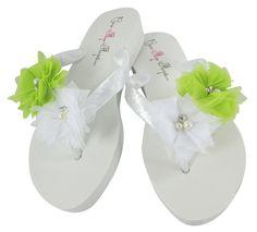 Lime Green & White Flower Wedding Flip Flops