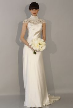 Theia - Spring 2013 | Silk sheath wedding dress with a high beaded neckline and cap sleeves, Theia