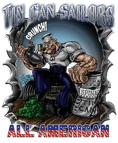 Popeye Tin Can Sailor Shirt Released At Vision-Strike-Wear. The Navy has a new Chief in town with the release of the newest Popeye shirt in the marketplace! Cartoon Books, Cartoon Art, Cartoon Characters, Navy Humor, Navy Memes, Tin Can Sailors, Navy Quotes, Navy Tattoos, Popeye And Olive