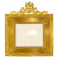 Antique French Empire Gilt Bronze Picture Frame, Napoleonic Eagle