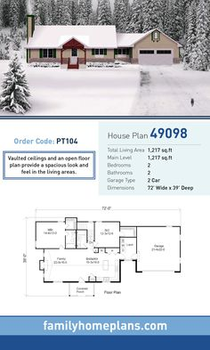 Charming Starter Home Plan 49098 | Total Living Area: 1,217 SQ FT, 2 Bedrooms And