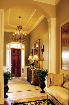 """""""View this Great Traditional Entryway with limestone tile floors & Carpet. Discover & browse thousands of other home design ideas on Zillow Digs. Foyer Decorating, Interior Decorating, Decorating Ideas, Beautiful Interiors, Beautiful Homes, Halls, Entry Foyer, Elegant Homes, Home Interior"""