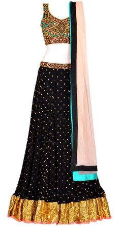 Black georgette lehenga with gota border and black mirrorwork blouse