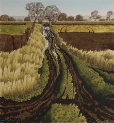 Left of Cote Lane - Simon Palmer Contemporary Landscape, Landscape Art, Landscape Paintings, Naive Art, Modern Landscaping, Pictures To Paint, Best Artist, Nature, Illustration Art