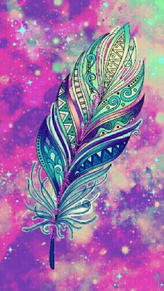 Beautiful feather galaxy wallpaper I created with the help of my dear friend Candace ChatField on the app CocoPPa.