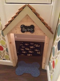 Our dog house / kennel under the stairs