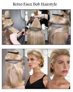 Retro+Faux+Bob+Hairstyle A little like Grace Kelly and could probably be done on hair that doesn't curl as well too. Retro Bob, Faux Bob, Mid Length Hair, Retro Hairstyles, Medium Hairstyles, Wedding Hairstyles, Estilo Retro, Grace Kelly, Tips Belleza