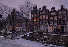Amsterdam in winter in the Jordaan district