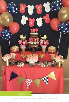 Coral, navy, and gold baby shower party! See more party ideas at CatchMyParty.com!