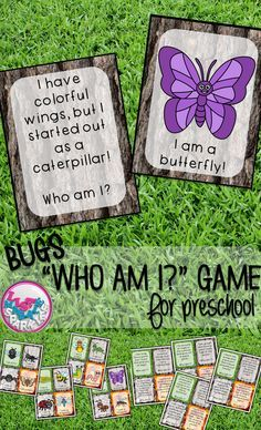 Play this fun interactive game with your students to teach them about 16 different bugs! You can use this a multitude of ways for different grades and abilities! It can be a circle time activity for preschool. Have each child hold a bug card and as you re Insect Activities, Circle Time Activities, Insect Games, Bug Games, Preschool Bug Theme, Preschool Science, Preschool Teachers, Preschool Songs, Comprehension Activities
