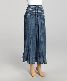 Another great find on #zulily! Blue Stripe Shirred Maxi Skirt by Miss Maxi #zulilyfinds
