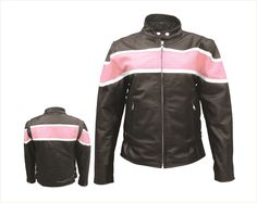 Womens Leather Motorcycle Jacket with Pink and White Stripe by Allstate Leather.  www.mymotorcycleclothing.com