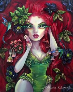 Poison Ivy by Kurtis Rykovich Dark Fantasy Art, Dark Art, Fantasy Artwork, Illustrations, Illustration Art, Goth Art, Creepy Cute, Poison Ivy, The Villain