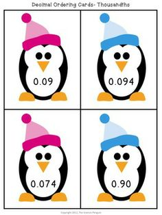 Penguin Decimal Ordering Cards Freebie