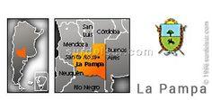 Mapa y escudo de la provincia de La Pampa