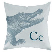Crocodile Poly Cotton Throw Pillow