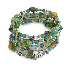 Silver Elephant Bracelet  Millefiori Heart by FullCircleTreasures