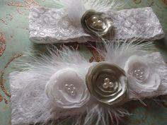 Wedding Garter, Bridal Garter, Feather and Lace Bridal Garter, White and Mint Green Wedding Garter Set,  Toss and Keepsake Garters. $37,00, via Etsy.