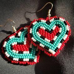 *sold* #simple #hearts #earrings #beaded #nativebling #turquoise #beadedearrings #beadedheart #earringsforsale