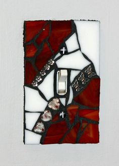 Red & White Mosaic Light Switch Cover / Wall Plate by MOSAICSnMORE, $16.95
