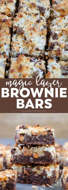Magic Layer Brownie Bars ~ with a rich brownie base, chocolate & butterscotch chips. coconut and sweetened condensed milk...like Seven Layer Bars, only better!