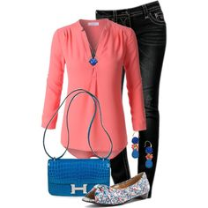 Blue & Coral by jennifernoriega on Polyvore featuring polyvore, fashion, style, LE3NO, Mark Lemp Classics, Hermès, David Aubrey, LeVian and clothing