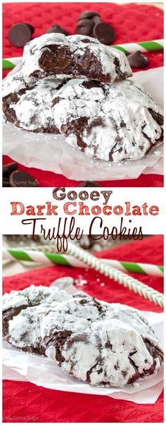 Gooey Dark Chocolate Truffle Cookies. The gooiest, meltiest, chewiest chocolate cookies that have ever existed!