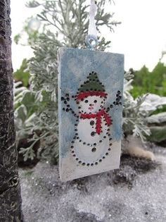 Hanging Snowman Banner For Miniature Fairy Gardens fairygardenstore.com   On sale thru 10/28