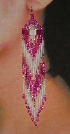 Native American Beaded Earrings Hot Pink White by BlueTurtleSky