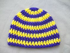 Purple and Yellow Crochet  Beanie Hat  Infant by AngieHallHaviland, $10.00