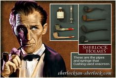 Sherlock Holmes pipes of Peter Cushing. Check out this website!!