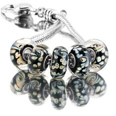 Murano Glass Jewelry - 5  pcs set swirl flower black color assorted murano glass bundle fit beads charms bracelets all brands Image.