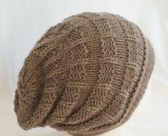 Hat Slouchy Beanie Hand Knit  Beige Adult by Reginastimelessknits