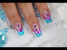 "Nailart Glasgel & Hologramm French Sticker & Glitter Butterfly ""Purple Sunset"" - YouTube"