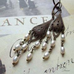 White Fresh Water Pearl Chandelier Earrings, White Freshwater Pearl Earrings, Vintage Style by DebraDane on Etsy https://www.etsy.com/listing/76257429/white-fresh-water-pearl-chandelier