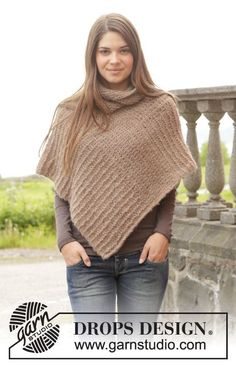"Knitted DROPS poncho in garter st in 2 strands ""Brushed Alpaca Silk"". Size: S - XXXL."