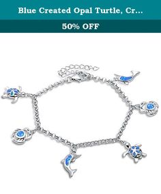 Blue Created Opal Turtle, Crab & Dolphin .925 Sterling Silver Bracelet. Product code:SBO-1326-BO Blue Opal Turtle Crab & Dolphin .925 Sterling Silver Bracelet15mm 8.