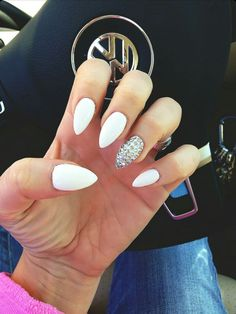 White Almond Shape Acrylic Nails w/ Rhinestones
