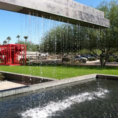 Phoenix Art Museum fountain located out front by main entrance. Phoenix Art Museum, High Rise Building, Condo Living, Main Entrance, Fountain, Urban, Lifestyle, City, Places