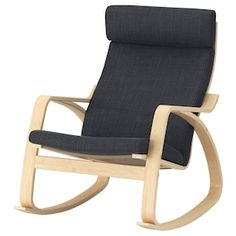 IKEA - POÄNG, Rocking-chair, birch veneer, Hillared dark blue, A range of various seat cushions makes it easy to change the look of your POÄNG and your living room. The frame is made of layer-glued bent birch which is a very strong and durable material. Decoration Ikea, Ikea Family, Fabric Armchairs, White Stain, Living Furniture, Grey Furniture, Wood Veneer, Chair Cushions, Swivel Chair